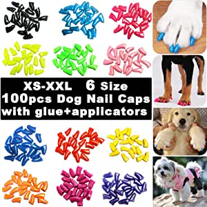 100pcs Dog Nail Caps, VITCHY Glitter Colors Pet Dog Soft Claws Nail Cover for Dog Claws with Glue and Applicators, 6 Size (Large)