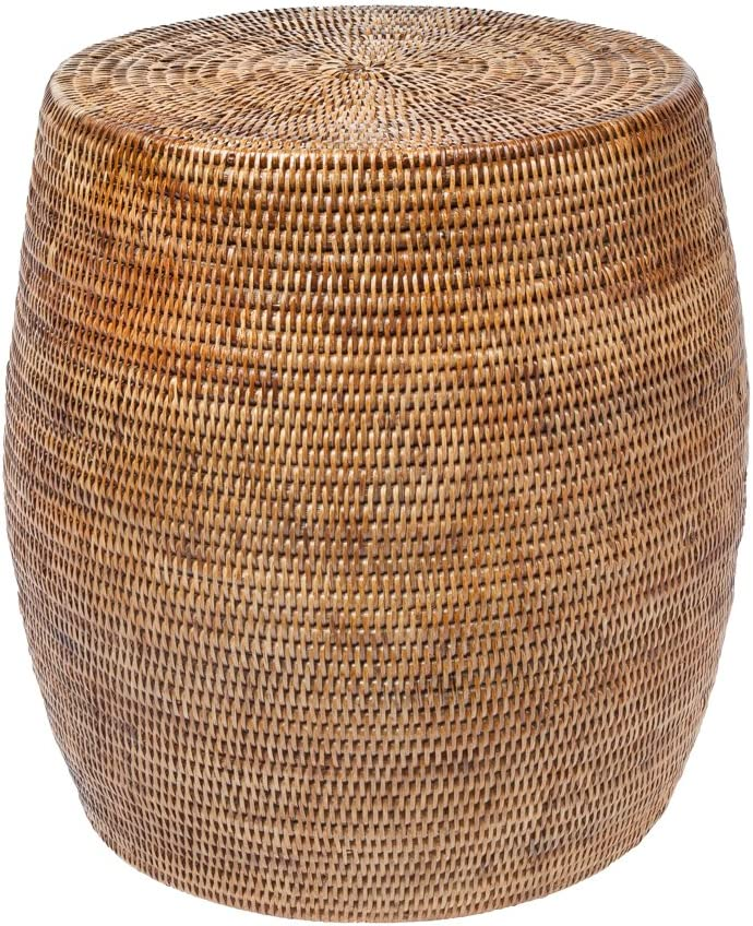 "Kouboo La Jolla Round Handwoven Rattan Stool/Side Table, 18"" by 18"", Honey-Brown"