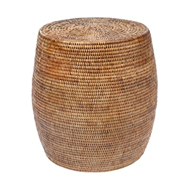 Kouboo La Jolla Round Handwoven Rattan Stool/Side Table, 18  by 18 , Honey-Brown