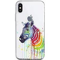 Oihxse Crystal Clear beschermhoes voor iPhone XS Max / iPhone 10 Plus siliconen TPU zachte beschermhoes [mooi aquarel…
