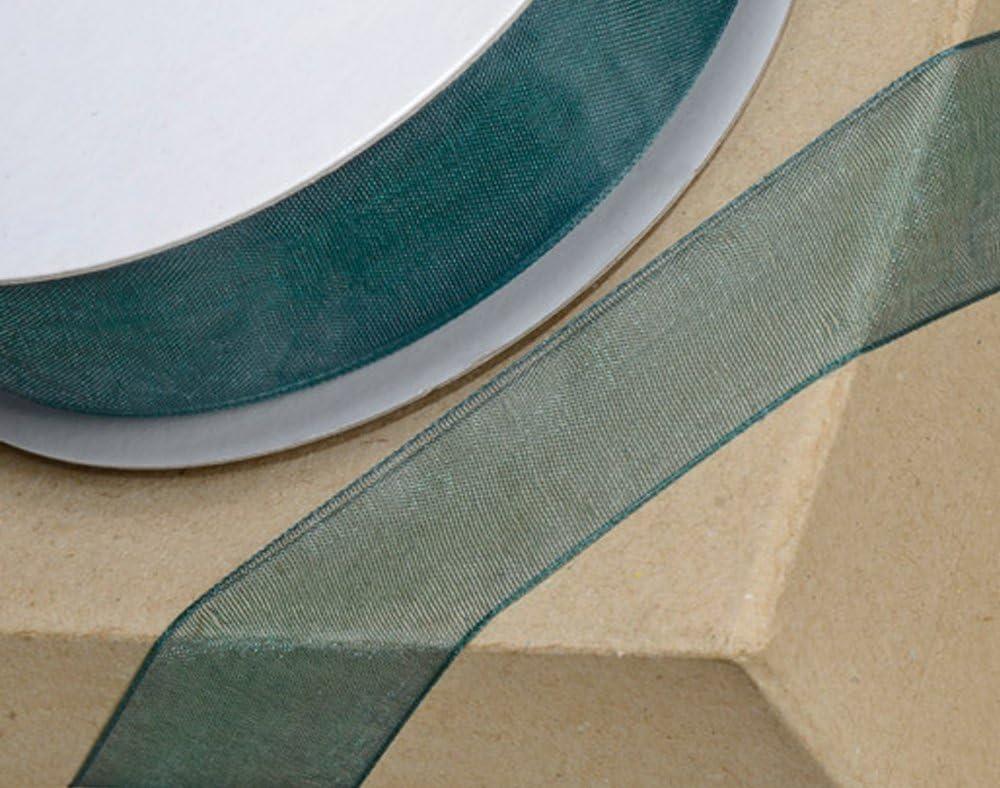 3/mm x 25/m Vert Bouteille Club Green tiss/é Edge Ruban dorganza