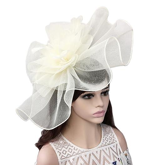YSJOY Elegant Veil Mesh Feather Big Curl up Kentucky Hat Sweet Flower  Bridal Shower Hat Wedding 0dcdbcffc32c