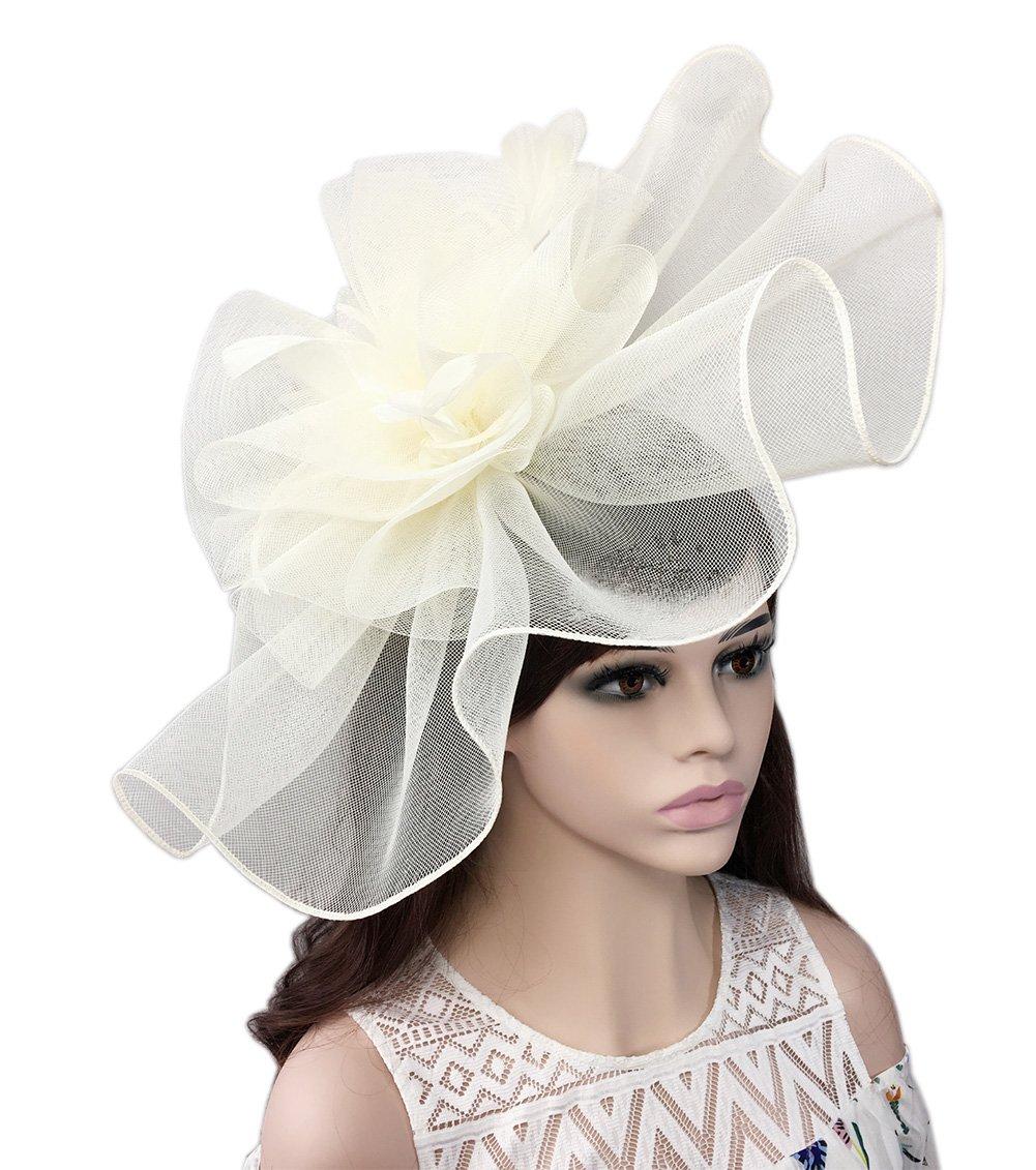 YSJOY Elegant Veil Mesh Feather Big Curl up Kentucky Hat Sweet Flower Bridal Shower Hat Wedding Cocktail Tea Party Hat Church Derby Hat Headwear Beige