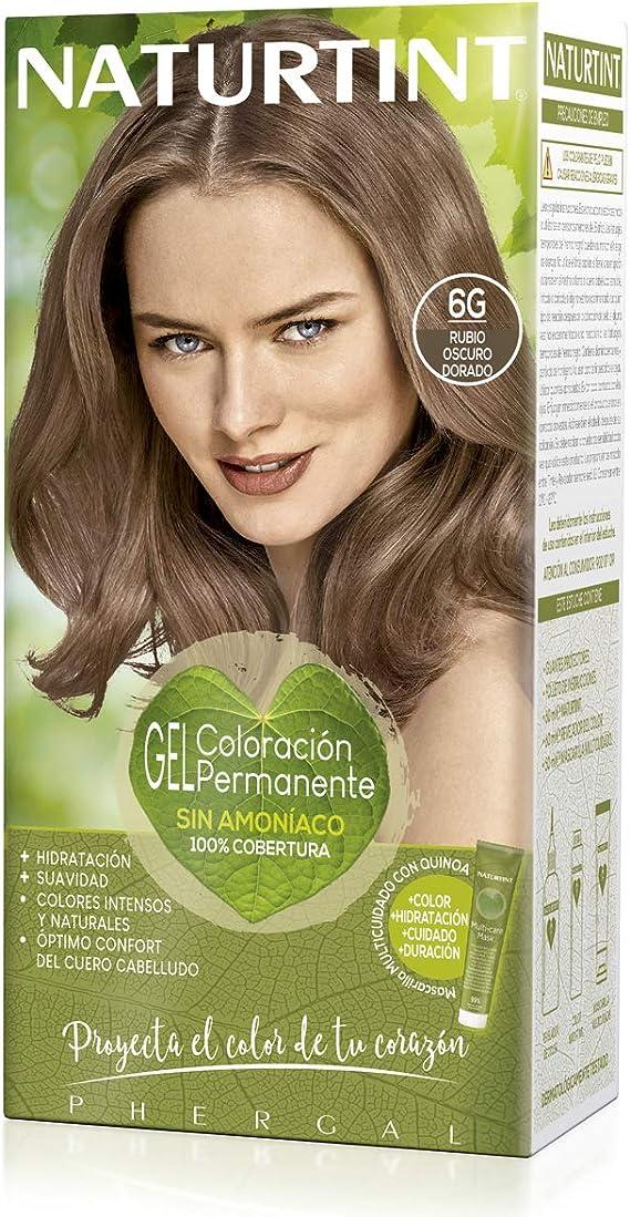 Naturtint | Coloración sin amoniaco | 100% cobertura de canas | Ingredientes vegetales | Color natural y duradero | 6G Rubio Oscuro Dorado | 170ml