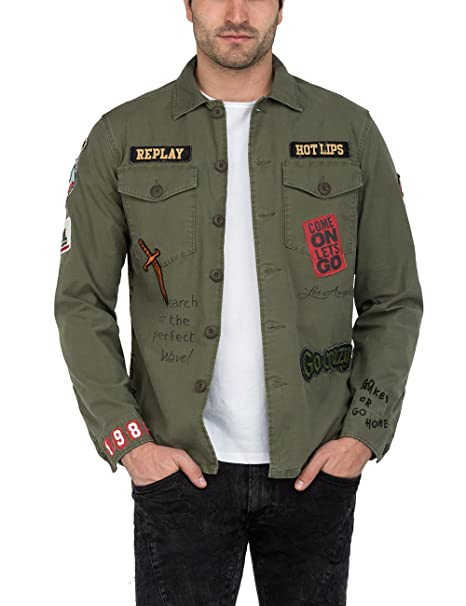 4c75b404b13 Replay Men s Men s Khaki Jacket with Patches in Size XXL Green ...