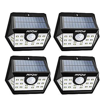 Mpow [Version Avancée] Lampe Solaire 4 Pack 20 LED Etanche Détecteur