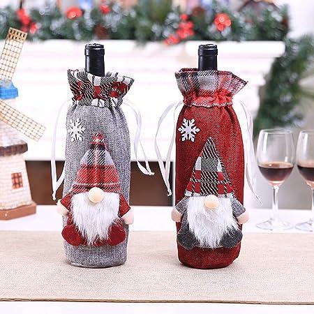Fundas para botellas de vino de Navidad, diseño de Papá Noel, decoración de mesa de Navidad para fiestas en el hogar talla única Style 2 2pcs: Amazon.es: Hogar