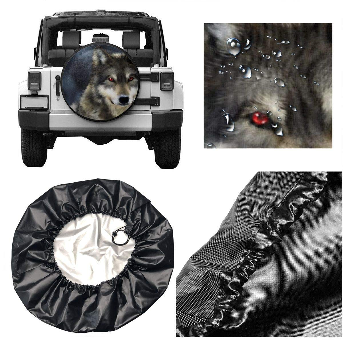 Belleeer Spare wheel cover Tire Cover Grey Wolf Red Eye Potable Polyester Spare Wheel Tire Cover Wheel Covers for Jeep Trailer RV SUV Truck Camper Travel Trailer Accessories 14,15,16,17 Inch
