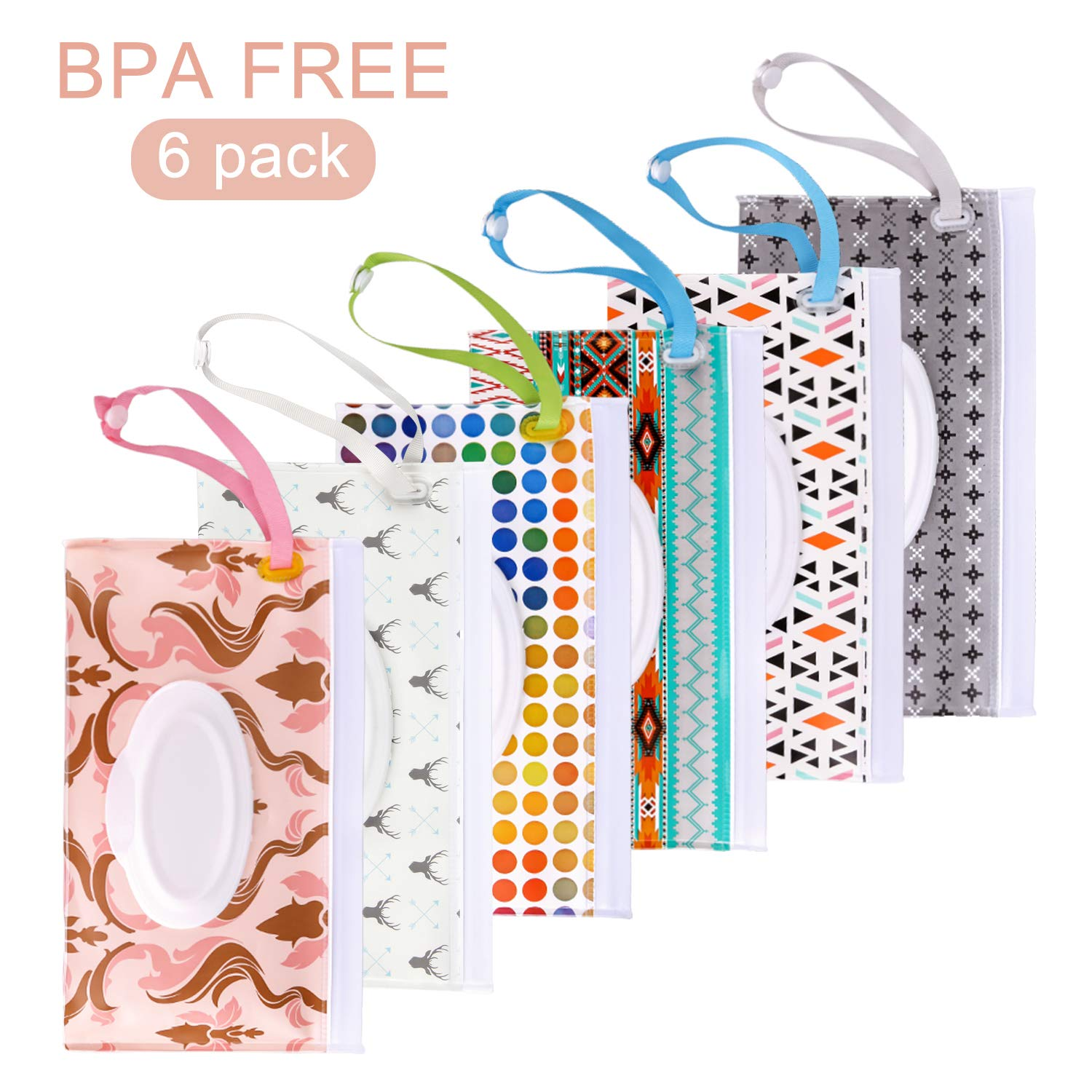 Blisstime Wet Wipe Pouch, 6 Pack Baby Wipe Holder Travel Cases, Reusable Eco-Friendly Pouches to Keep Wipes