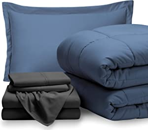 Bare Home Bedding Set 5 Piece Comforter & Sheet Set - Twin XL - Goose Down Alternative - Ultra-Soft 1800 Premium - Hypoallergenic - Breathable Bed Set (Twin XL, Coronet Blue/Grey)