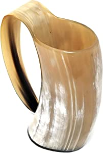 AleHorn Viking Drinking Horn - Genuine Ox Horn Tankard for Ale & Mead - Food-Grade Medieval Style Mug - Handcrafted Manly Beer Cup - Gift Idea for Anniversary, Birthday & Father's Day - Large, Gold