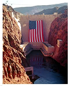 Hoover Dam with Large American Flag Art Print, 26 x 32 inches