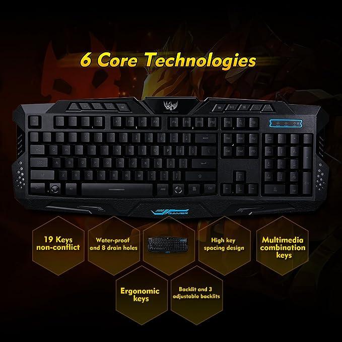 Walmeck Gaming Keyboard Carving Characters Keyboard USB Wired 3-Level Backlit Keyboard Switchable LX-K002 Mechanical Feel Gaming Keyboard