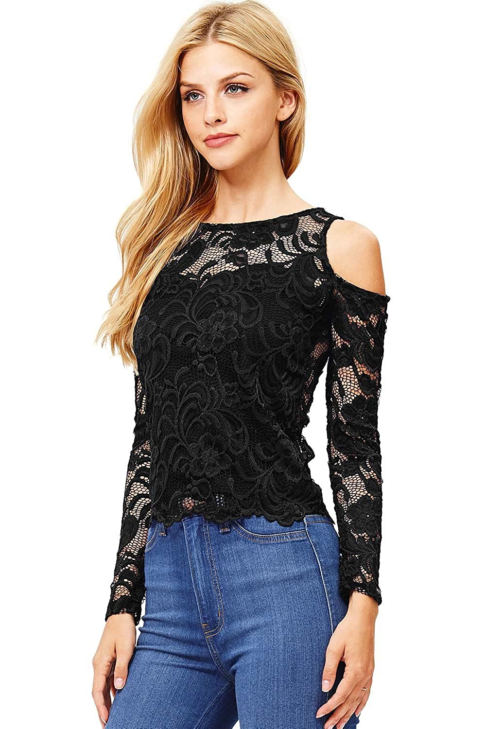 adda7650 Online Cheap wholesale Ambiance Womens Juniors Long Sleeve Lacey Crop Top  Blouses & Button-Down Shirts Suppliers
