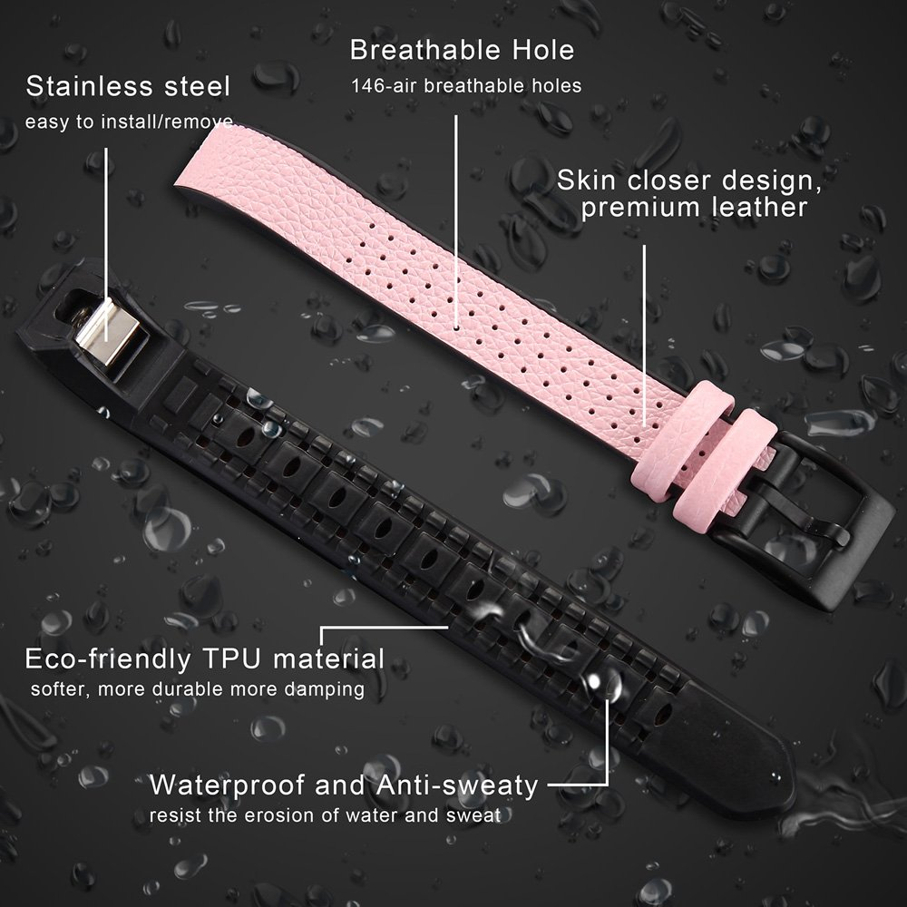 Fitbit Alta HR /Alta Bands for Men&Women, greatgo Replacement Leather TPU Wristbands Accessories Adjustable Sport Small Breathable Strap with Metal Buckle Clasp for Fitbit Alta Fitness Tracker (Pink)