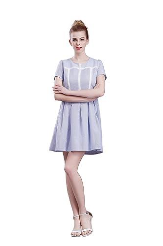 Yiye -  Vestito  - linea ad a - Maniche corte  - Donna Blue 44