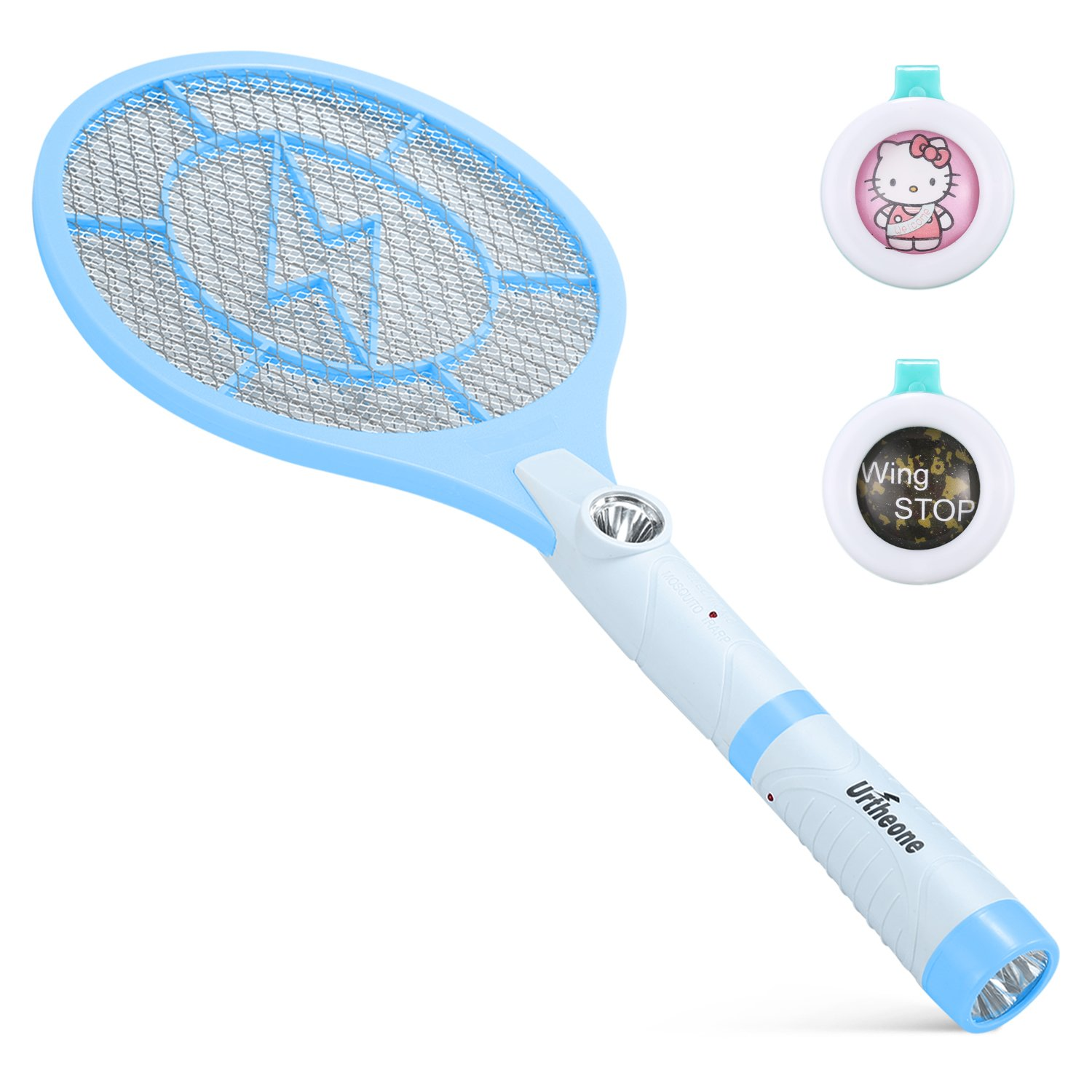 Urtheone Bug Zapper, Rechargeable Electric Fly Swatter Handheld Mosquito Insect Killer, 3800 Volt Mosquito Zapper Racket Detachable Flash Light, Suitable Indoor, Travel, Campings Outdoor