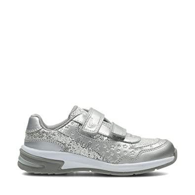 Clarks Piper Play Infant Leather Trainers in Silver  Amazon.co.uk ... 6485b1149abb
