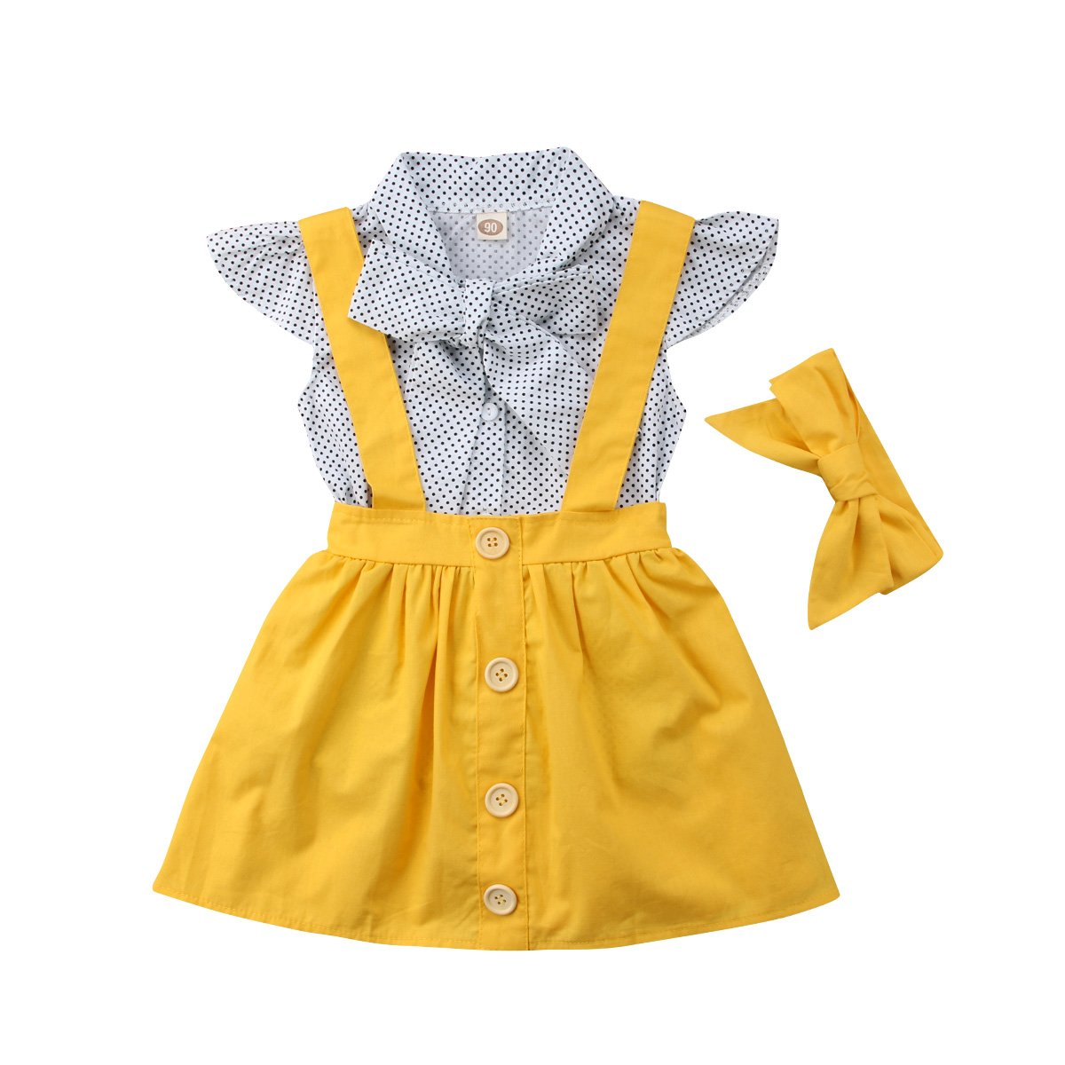 Toddler Baby Girls Polka Dot Short Sleeve Bowknot Shirt Tops+Suspender Braces Skirt Overalls with Headband