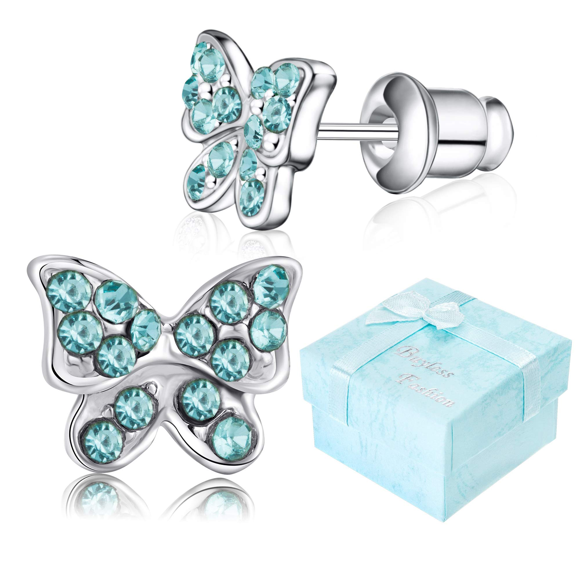Buyless Fashion Girls Butterfly Stud Earrings Silver Surgical Stainless Steel - E100BTAQU by Buyless Fashion