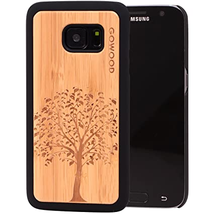 Samsung Galaxy S7 Case Wood Real Natural Bamboo Wooden Backplate With Unique Tree Design And Shock Absorbing Polycarbonate Protective Bumper Gowood