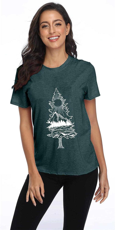 MYHALF Womens Happy Hiking Printed T-Shirt Summer Camping Graphic Tee Top Vacation Nature Short Sleeve Shirt