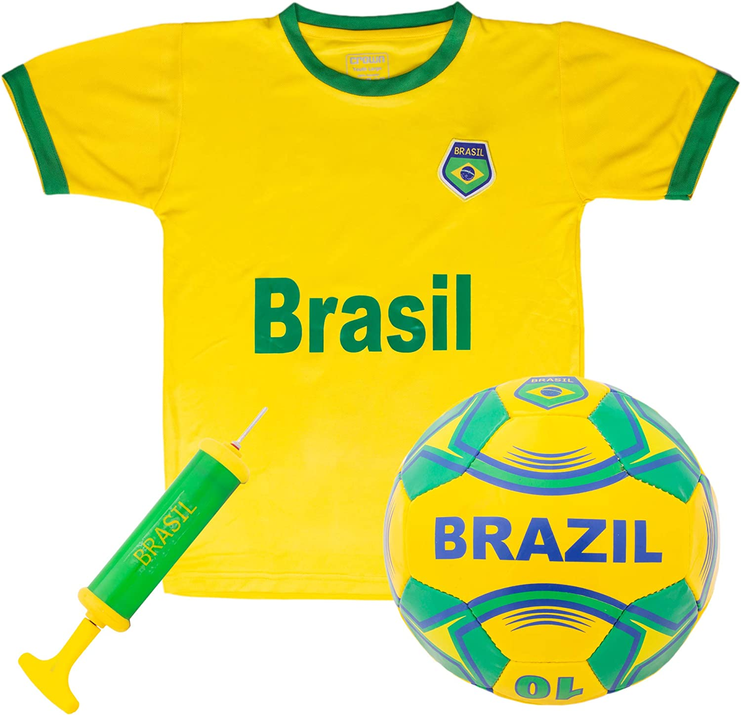 Brazil National Team Kids Soccer Kit | Kit Includes a Jersey, Shorts, and Soccer Ball Adorned with Green and Yellow Design | World Cup Youth Attire, Premium Gift for Soccer/Football Fans