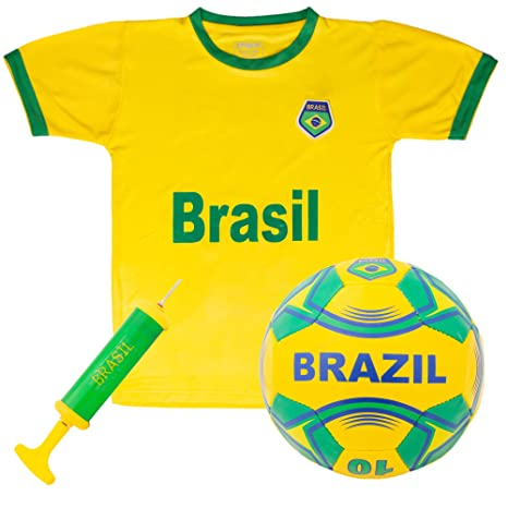 fd5bcc5fa00 Brazil National Team Kids Soccer Kit | Kit Includes a Jersey, Shorts, and  Soccer Ball Adorned with Green and Yellow Design | World Cup Youth Attire,  ...