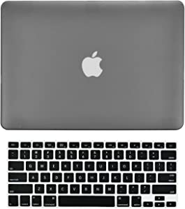 "TOP CASE - 2 in 1 Signature Bundle Rubberized Hard Case + Keyboard Cover Compatible MacBook White Unibody 13"" (A1342 / Oct 2009-2011) - Gray"
