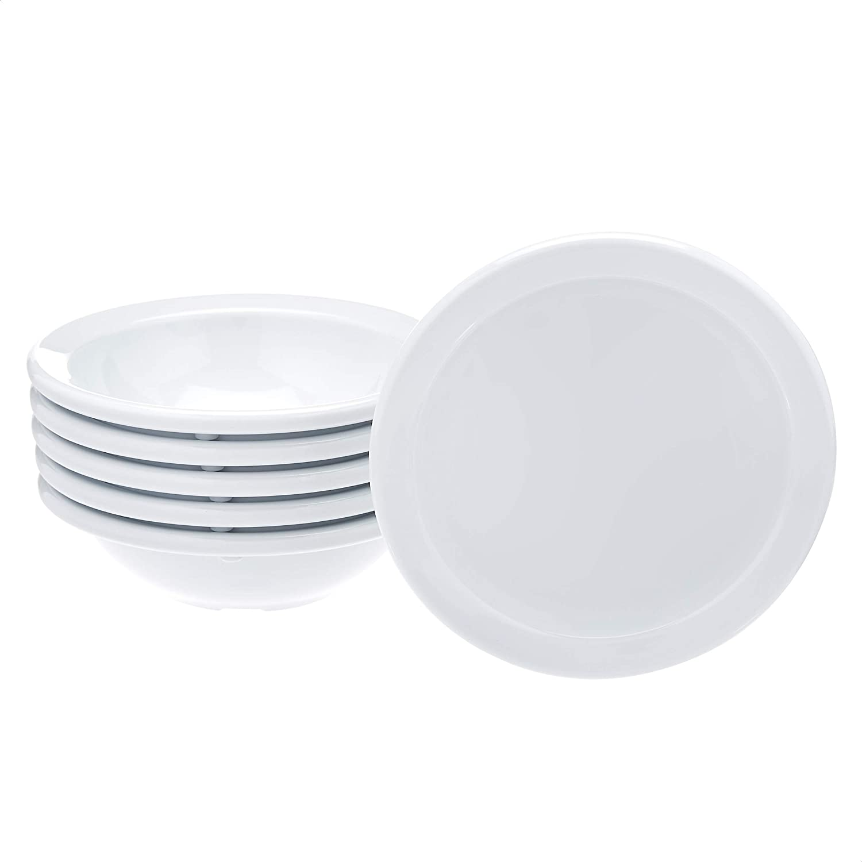 AmazonCommercial 4.5 oz. White Melamine Bowl - 6 Piece Set