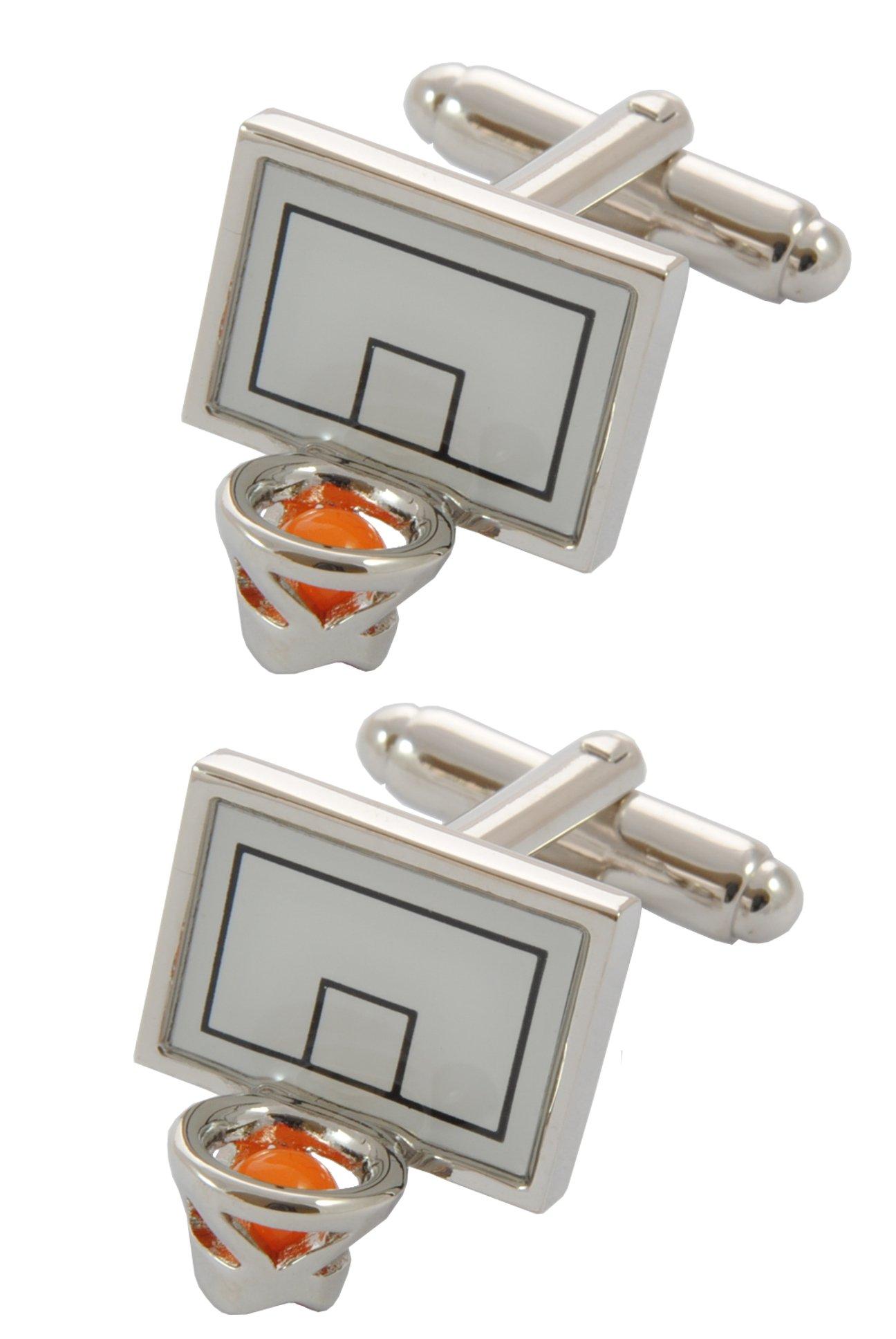 COLLAR AND CUFFS LONDON - Premium Cufflinks with Gift Box - Basketball - Basket Goal Net Court Match Sport Shoot Ball Hoop Goal - Silver and White Colours
