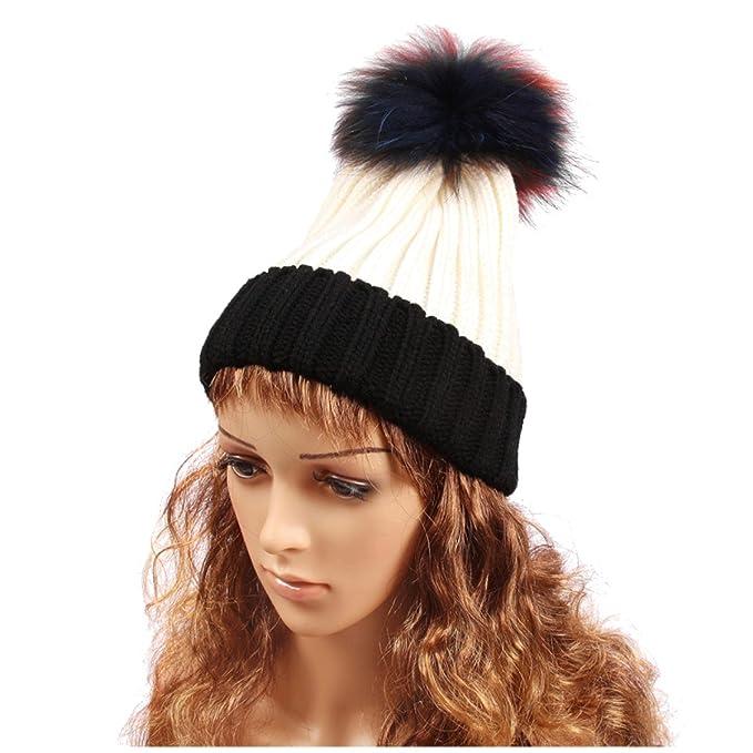 Cappello Da Cavaliere Signore Cappello Invernale Palla Di Capelli Alla Moda  Selvaggia E Colorata Caldo Cappello e56f95b5a4eb