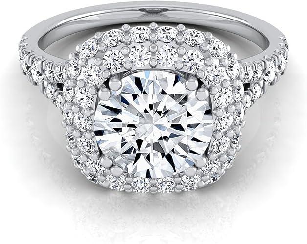 8Ct Round Moissanite Ring Earrings Pendant Sets Engagement 14K White Gold Finish