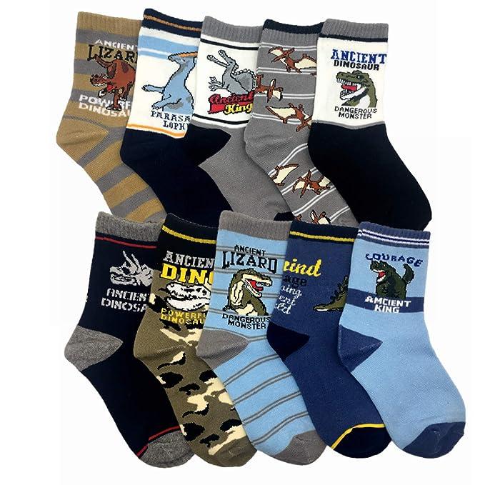 Cczmfeas Calcetines de niño Calcetines de Dinosaurios algodón grueso Comfort 10 Pack de niños: Amazon.es: Ropa y accesorios