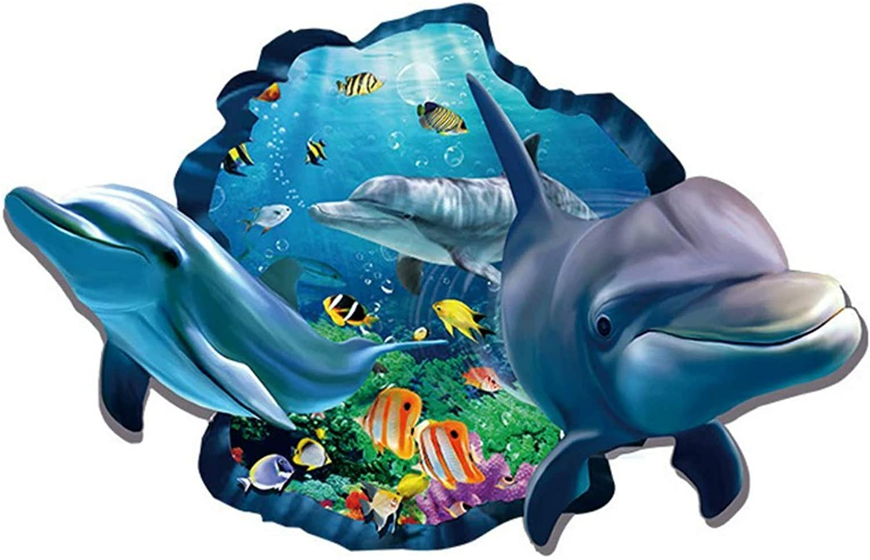Ocean World Wall Stickers, 3D Blue Dolphin 3D Shark Broken Wall Stickers Tropical Fish DIY Wall Decals Art Decor for Kids Boys Bedroom Playroom (Dolphin)