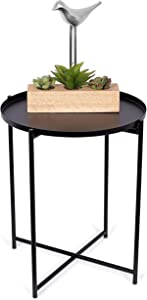 BIRDROCK HOME Black Folding Side Table with Removable Tray – Metal Foldable Nightstand – Indoor or Outdoor Use – Bar Coffee Drinks Food Serving Tray – Decorative Modern End Accent