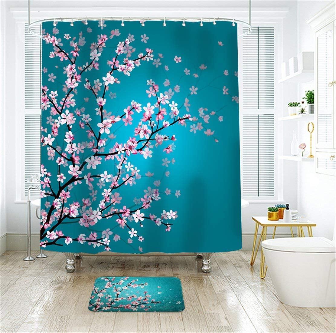 LIVILAN Teal Cherry Blossom Shower Curtain and Rug Set for Bathroom with 12 Hooks Bath Curtain with Bath Mat Fabric