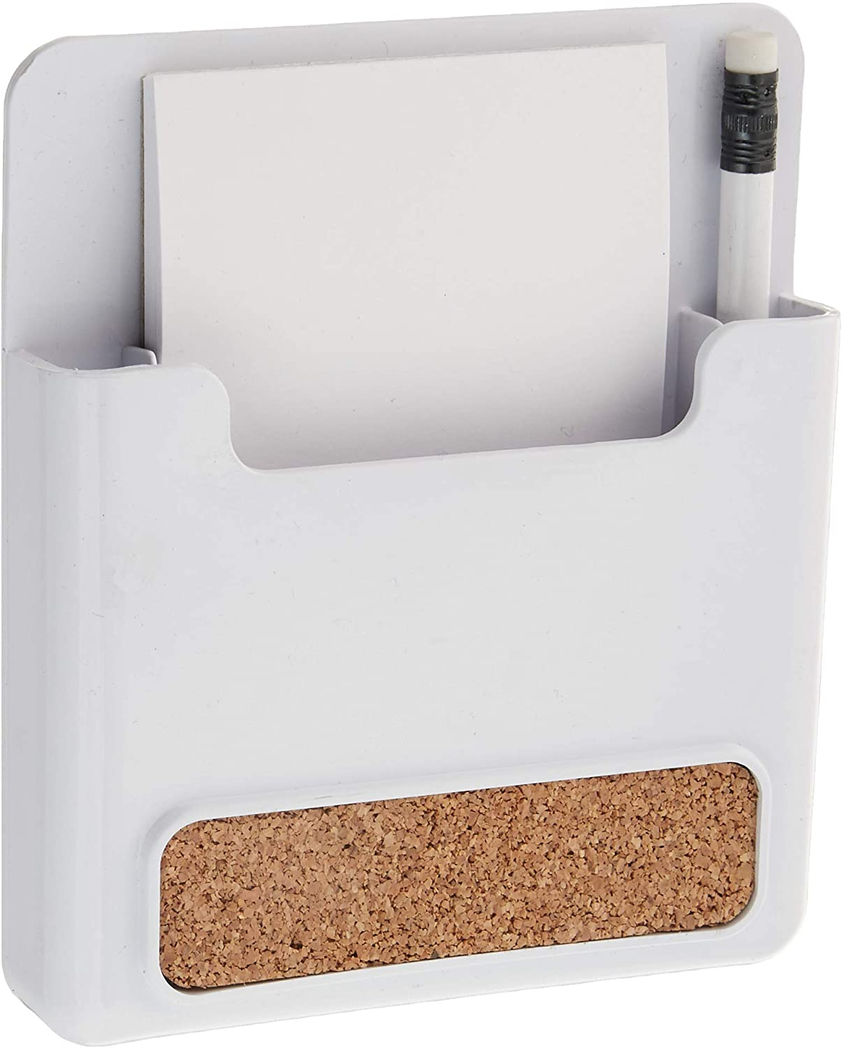 Spectrum Diversified Magnetic Memo Pad and Pencil Holder with Cork Strip, White