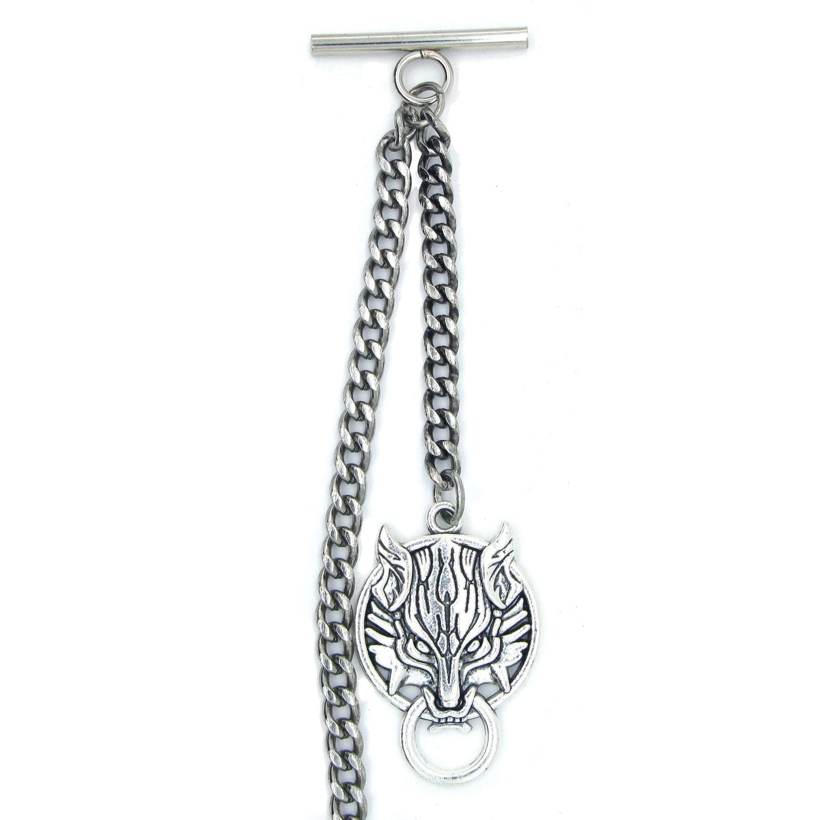 Albert Chain Pocket Watch Curb Link Chain Antique Silver Color Ancient Animal Fob T Bar AC45 by watchvshop (Image #4)