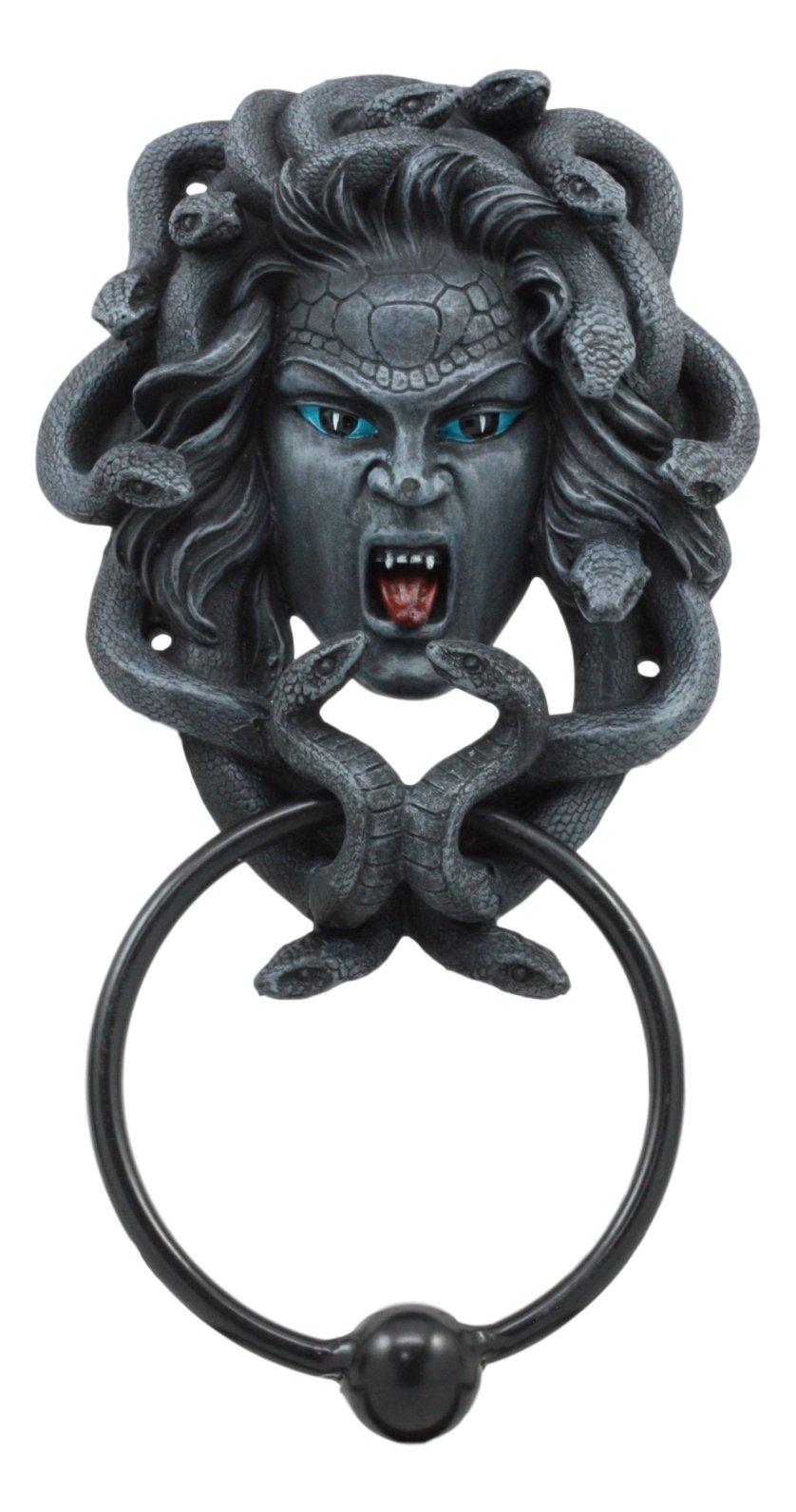 Ebros Faux Stone Severed Head Of Medusa Door Knocker Figurine Greek Goddess Medusa Gorgon Sister Stone Gaze Home Decor