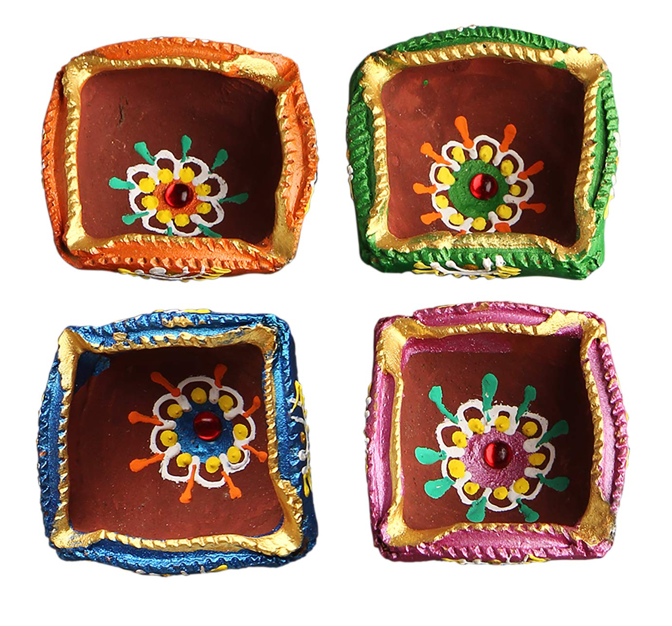 Set of 4 Handmade Decorative Diwali Clay Diyas Diwali Decoration Square Shaped Terracotta Clay Oil Lamps Store Indya