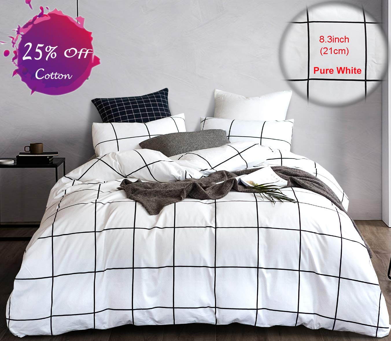 karever Grid Duvet Cover Set White and Black Bedding Set Big Plaid Geometric Modern Pattern Printed, 100% Cotton Queen 3 PCS