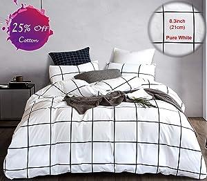 karever Grid Duvet Cover Set White and Black Bedding Set Big Plaid Geometric Modern Pattern Printed, 100% Cotton Queen 3 PCS