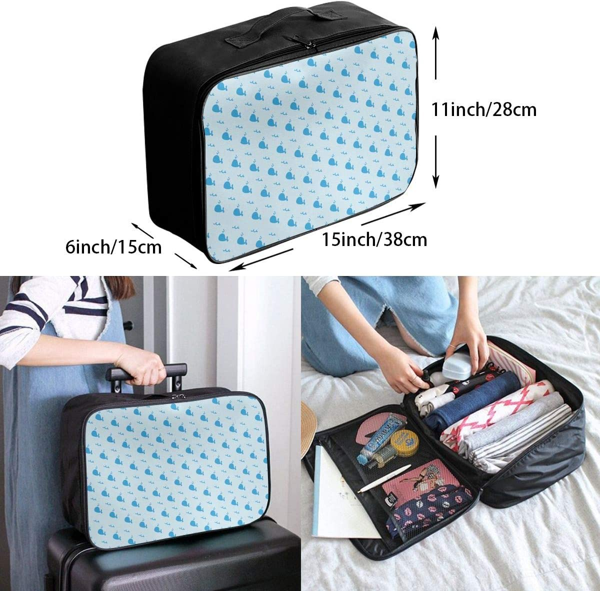 Whale Logo Travel Carry-on Luggage Weekender Bag Overnight Tote Flight Duffel In Trolley Handle
