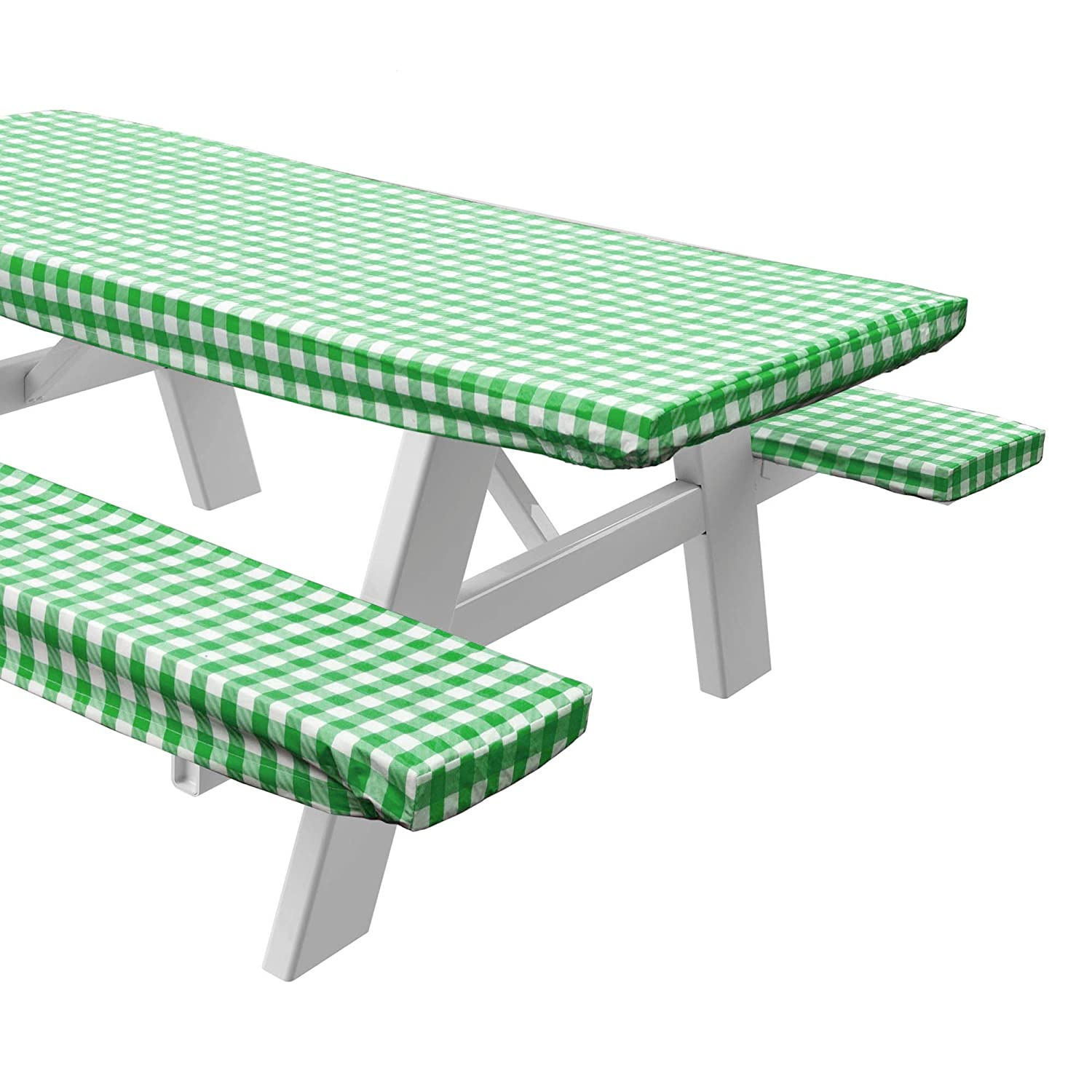 Sorefy Vinyl Picnic Table and Bench Fitted Tablecloth Cover, Checkered Design, Flannel Backed Lining, 28 x 72 Inch, 3-Piece Set, Green