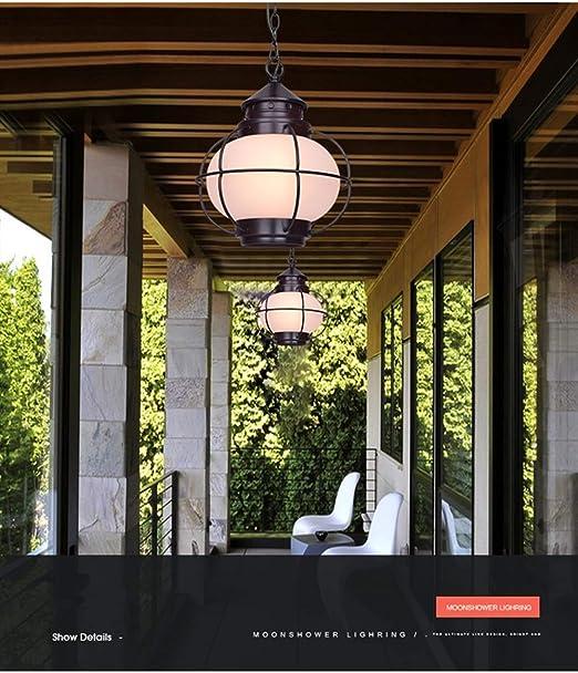 XLIGHT Araña Impermeable Al Aire Libre Retro, Araña De Vidrio Esmerilado/Burbuja Ajustable E27 De Altura, Balcón Luz Gazebo Jardín Porche Corredor Marco De UVA Araña De Jardín: Amazon.es: Hogar
