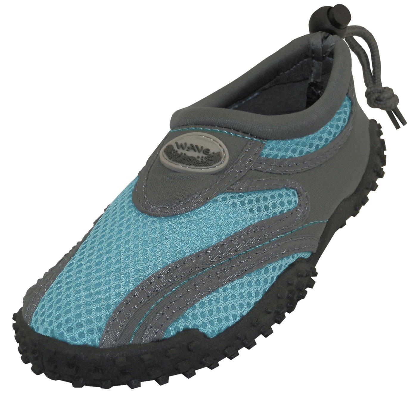 Cambridge Select Women's Closed Toe Non-Slip Drawstring Mesh Quick Dry Slip-On Water Shoe B07B5CRZ8T 7 B(M) US|Grey/Light Blue