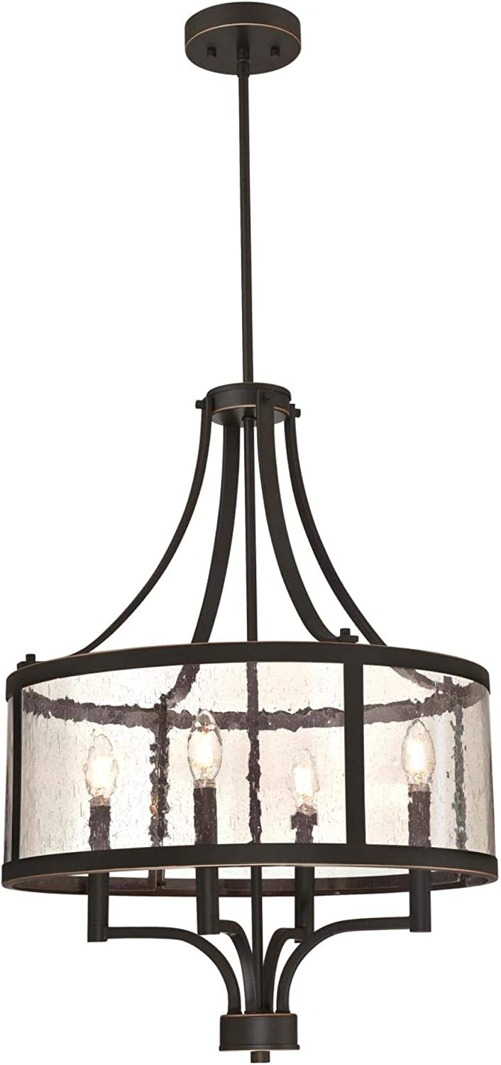 Westinghouse Lighting 6368400 Belle View Four-Light Indoor Chandelier, Oil Rubbed Bronze Finish with Highlights and Clear Seeded Glass