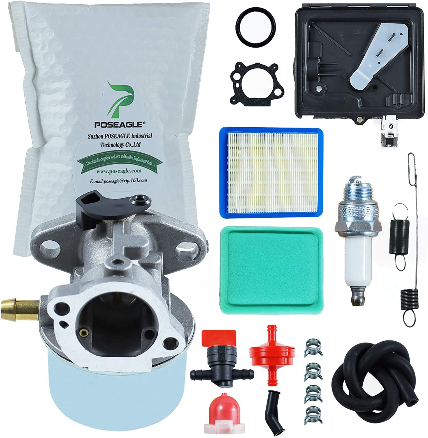 POSEAGLE 799868 Carburetor with 795259 Air Cleaner Primer Base 699056 790849 Spring Tune Up Kits for 498170 497586 498254 497314 497347 497410 799872 Mower Engine