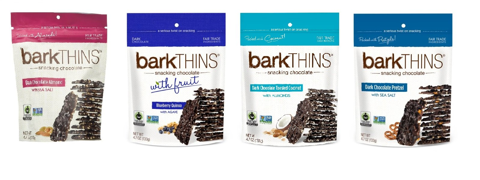BarkTHINS Snacking Dark Chocolate Variety Pack, 1-Toasted Coconut Almonds, 1- Blueberry Quinoa, 1- Pretzel , 1- Almond, 4.7 Ounce each (Pack of 4)